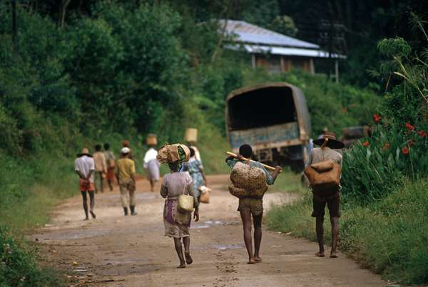 Agriculture workers walking off to the fields from Perinet railway terminal, Madagascar, East Africa, Africa, 1980s (photo)