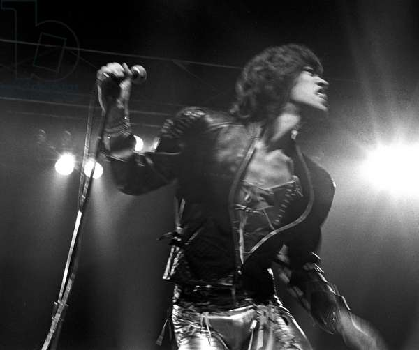 Mick Jagger opening the Rolling Stones Concert in Wembley Arena, London, UK, 1972 (b/w photo)