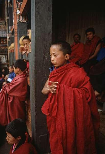 Buddhist child monks at the Paro Tshechu, mask dance festival, in the Paro Dzong, Bhutan (photo)