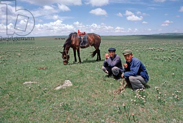 Horse breeders, Inner Mongolia grasslands, China, 1985 (photo)