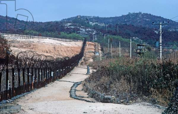 Heavily fortified Korean Demilitarized Zone, DMZ Line, between North Korea and South Korea under United Nations control (photo)