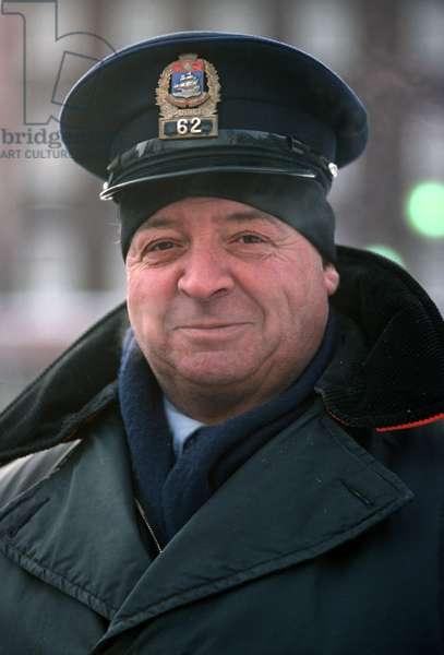 Quebec City policeman, in winter, Quebec Province,  Canada (photo)
