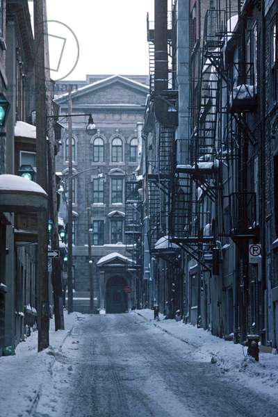 Fire escapes in Quebec City in winter, Quebec Province, Canada (photo)