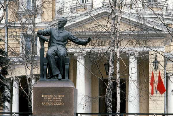 Statue of 19th Century Russian composer Tchaikovsky outside The Conservatory, Moscow, Russia (photo)