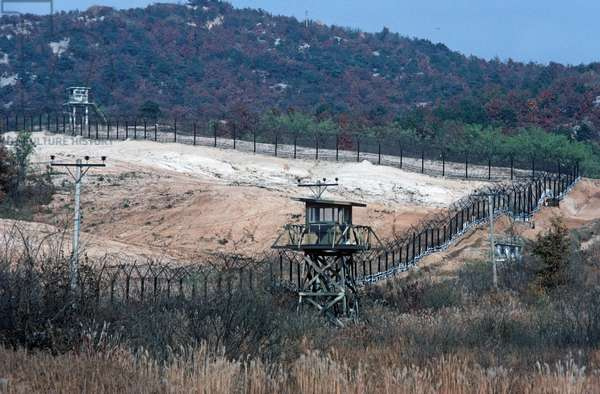 Heavily fortified Korean Demilitarized Zone, DMZ Line, between North Korea and South Korea under United Nations controll (photo)