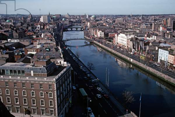 Aerial view of Dublin City and River Liffey referred to in James Joyce 'Ulysses', Ireland (photo)