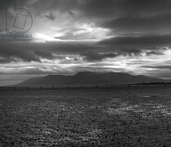 Mourne Mountains, Co Down, Northern Ireland (b/w photo)