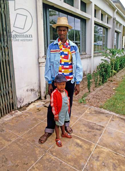 Father and son at Antsiranana Air, Madagascar airport, East Africa, Africa, 1980s (photo)