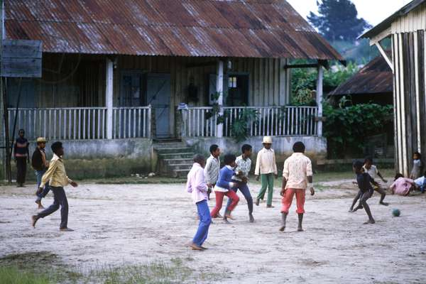 Children playing football in the evening at Berenty, Madagascar, East Africa, Africa, 1980s (photo)