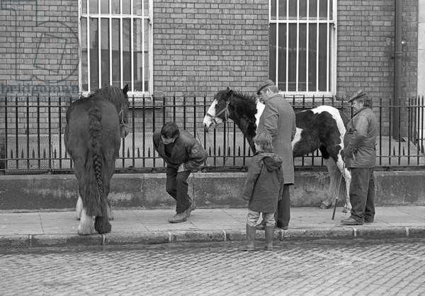 Horse dealers in Smithfield horse market, Dublin, Ireland, 90s