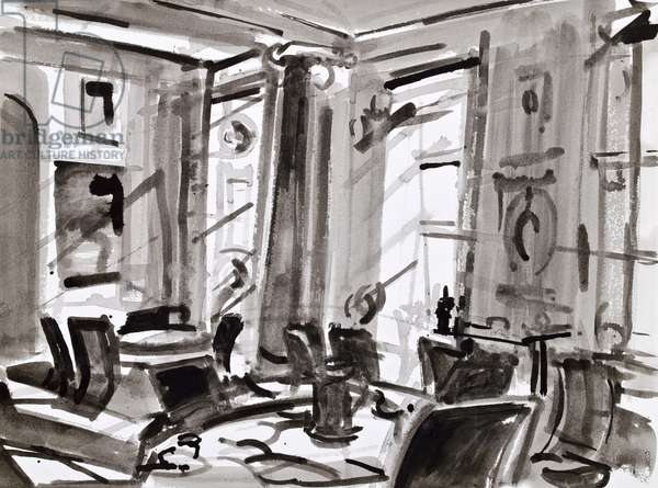 The Music Room, Clandeboye (ink and oil on paper)