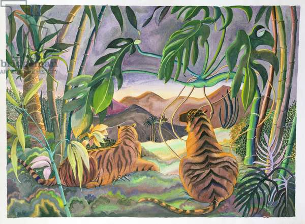 Two Tigers, 1978 (gouache)