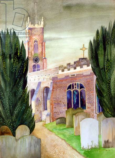 St. Mary's Church, Stoke By Nayland, 1971 (gouache)