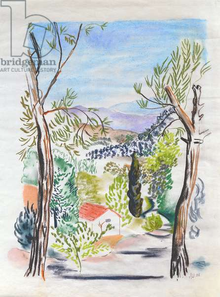 Path Through the Trees, Provence, 1956 (pastel)