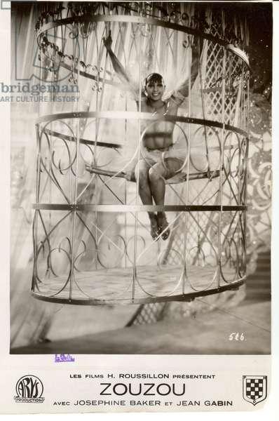 Film poster showing Josephine Baker in Zouzou, 1934 (b/w photo)