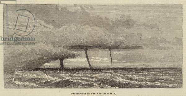 Waterspouts in the Mediterranean (engraving)
