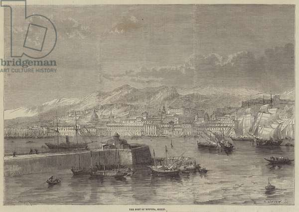 The Port of Messina, Sicily (engraving)