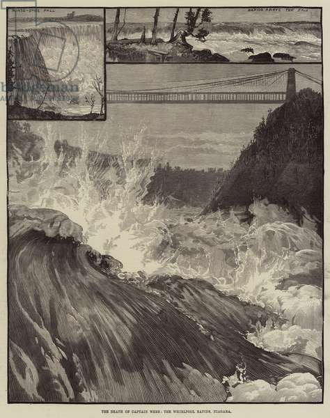 The Death of Captain Webb, the Whirlpool Rapids, Niagara (engraving)