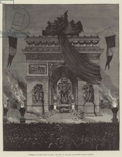 Funeral of Victor Hugo in Paris, the Bier at the Arc de Triomphe, Champs Elysees (engraving)