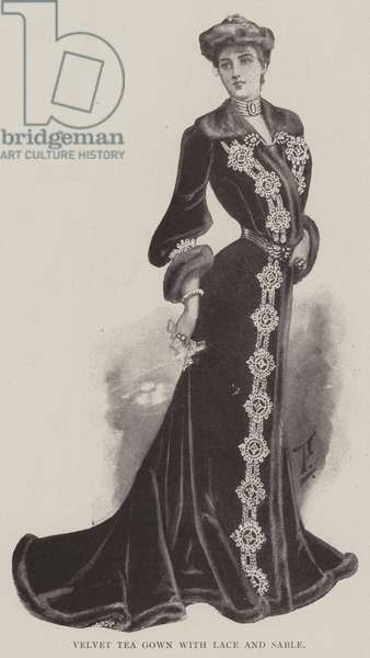 Velvet Tea Gown with Lace and Sable (litho)