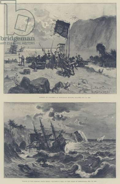Christopher Columbus and the Fourth Centenary of the Discovery of America (engraving)