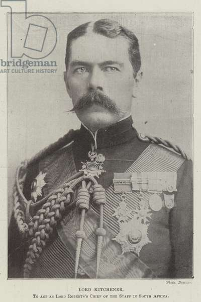 Lord Kitchener, to Act as Lord Roberts's Chief of the Staff in South Africa (b/w photo)