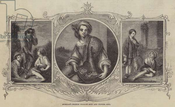 Murillo's Spanish Peasant Boys and Flower Girl (engraving)