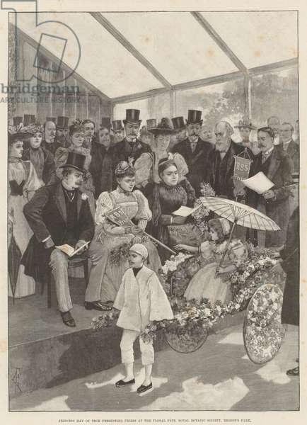 Princess May of Teck presenting Prizes at the Floral Fete, Royal Botanic Society, Regent's Park (engraving)