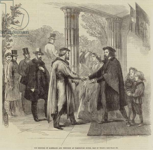 The Meeting of Garibaldi and Tennyson at Faringford House, Isle of Wight (engraving)