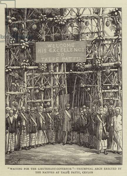 """""""Waiting for the Lieutenant-Governor"""", Triumphal Arch erected by the Natives at Talpe Pattu, Ceylon (engraving)"""