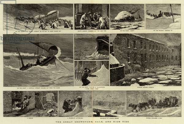 The Great Snowstorm, Gale, and High Tide (engraving)