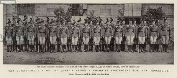 The Commemoration of the Queen's Reign, a Colonial Contingent for the Procession (b/w photo)