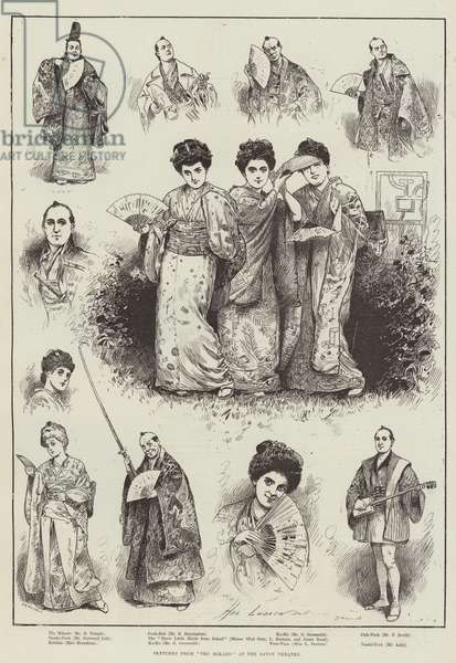 "Sketches from ""The Mikado"" at the Savoy Theatre (engraving)"