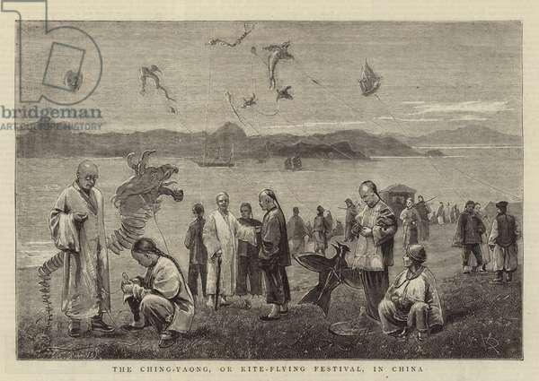 The Ching-Yaong, or Kite-Flying Festival, in China (engraving)
