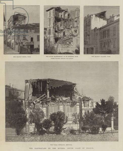 The Earthquake on the Riviera, South Coast of France (engraving)