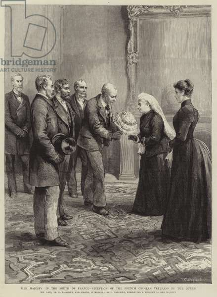 Her Majesty in the South of France, Reception of the French Crimean Veterans by the Queen (engraving)