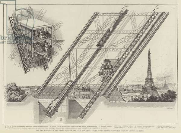 The Otis Elevator in the Eiffel Tower of the Paris Exhibition, built by the American Elevator Company, London and Paris (engraving)