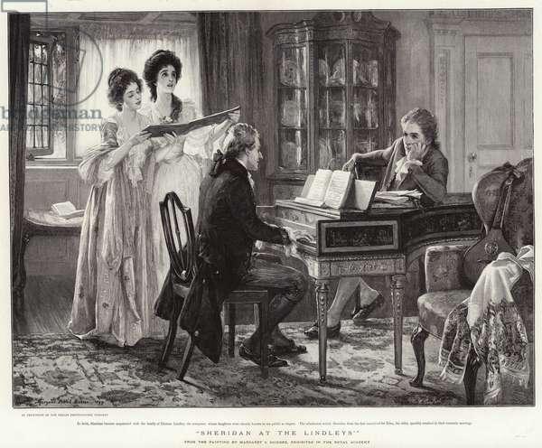 """""""Sheridan at the Lindleys"""" (engraving)"""