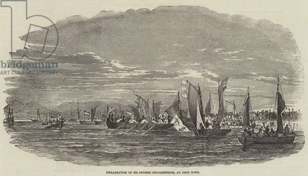 Embarkation of Sir Andries Stockenstrom, at Cape Town (engraving)