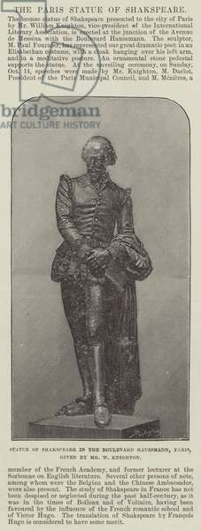 Statue of Shakspeare in the Boulevard Haussmann, Paris, given by Mr W Knighton (engraving)