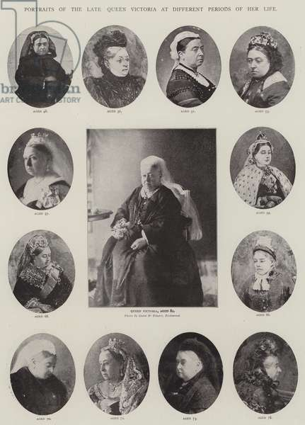 Portraits of the late Queen Victoria at Different Periods of her Life (litho)