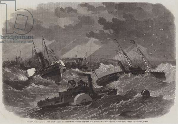 The Civil War in America, the Picket leading the Ships of the Burnside Expedition over Hatteras Bar (engraving)