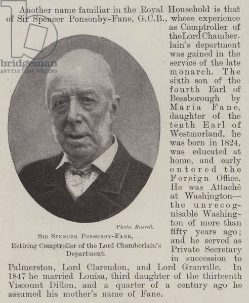 Sir Spencer Ponsonby-Fane, Retiring Comptroller of the Lord Chamberlain's Department (b/w photo)