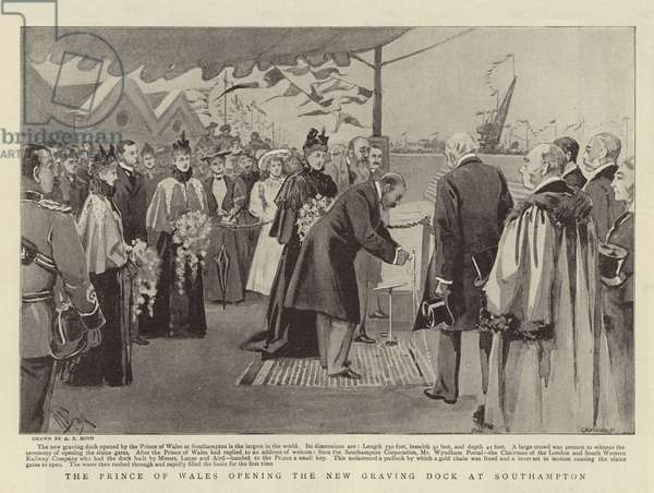 The Prince of Wales opening the New Graving Dock at Southampton (litho)