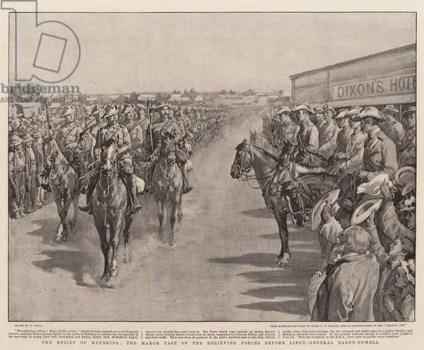 The Relief of Mafeking, the March Past of the Relieving Forces before Lieutenant General Baden-Powell (litho)