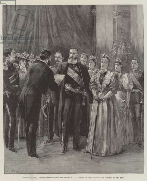 Opening of the Antwerp International Exhibition, 5 May, Count de Pret reading the Address to the King (engraving)