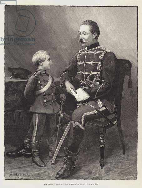 The Imperial Crown Prince William of Prussia and his Son (engraving)