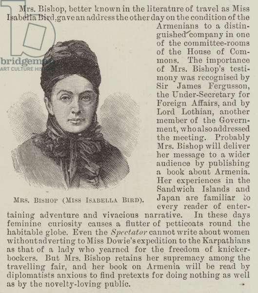 Mrs Bishop (Miss Isabella Bird) (engraving)