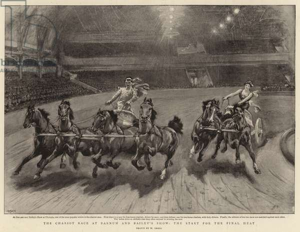 The Chariot Race at Barnum and Bailey's Show, the start for the Final Heat (litho)