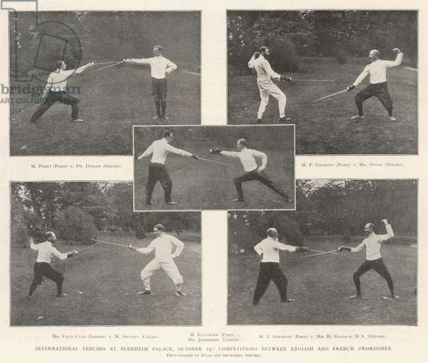 International Fencing at Blenheim Palace, 19 October, Competitions between English and French Swordsmen (engraving)